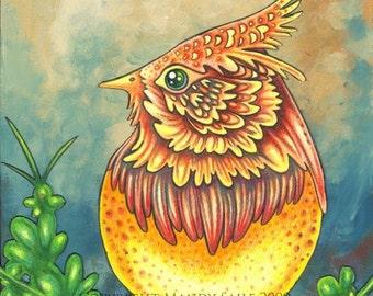 "Beautiful Bird 6 - an 8 x 10"" ART PRINT of a bright lemon yellow and burnt orange whimsical bird sitting on a bright green leafy branch"