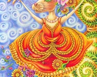 "Ella Luna the Dancer - an 8 x 10"" ART PRINT of a whimiscal pretty and beautiful rabbit dancer in a bright orange dance costume taking a bow"