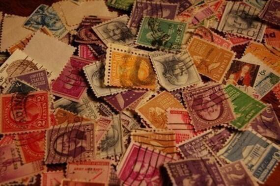 Vintage cancelled postal stamp assortment of 25
