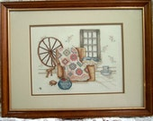 Beautiful Petit Point Sampler - Spinning Wheel and quilt