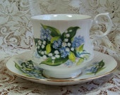 Cup and Saucer, Bone China, Lilly of the Valley by Royal Minster No. 19, Made in England