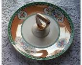 Vintage Noritake Lusterware Novelty Dish with Handle - Gold Leaf