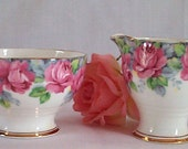Vintage Cream and Sugar Set  -  Royal Standard Rose of Sharon - Made in England