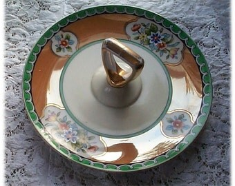 Vintage Noritake Lusterware Lemon Slices -  Novelty Dish with Handle - Gold Leaf