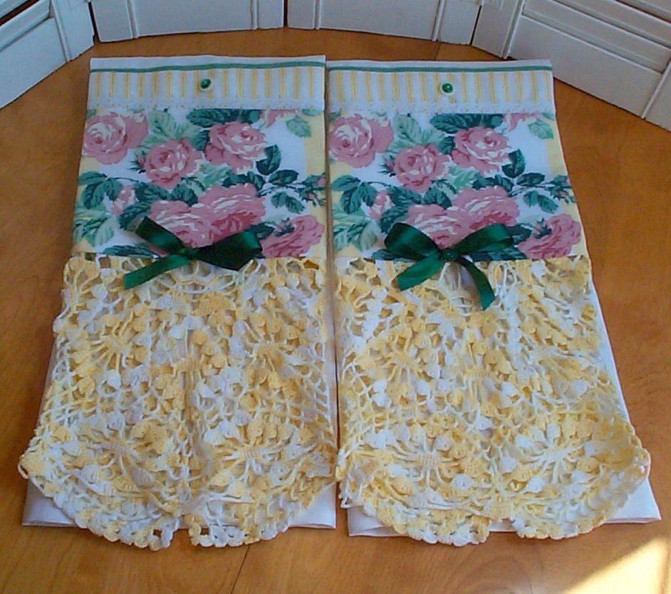 Vintage Towels: HM Vintage Damask Guest Towels Yellows Roses Vintage