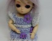 Tiny BJD Puki Puki Jun Planning Ai Lati White Purple Crochet Dress and Hat Handmade by Reikidolls