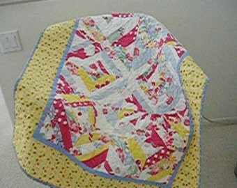 Quilt from vintage tablecloths --free shipping--sale