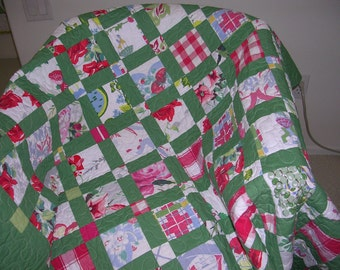 Vintage Tablecloth Lap Quilt---Sale-- Free Shipping