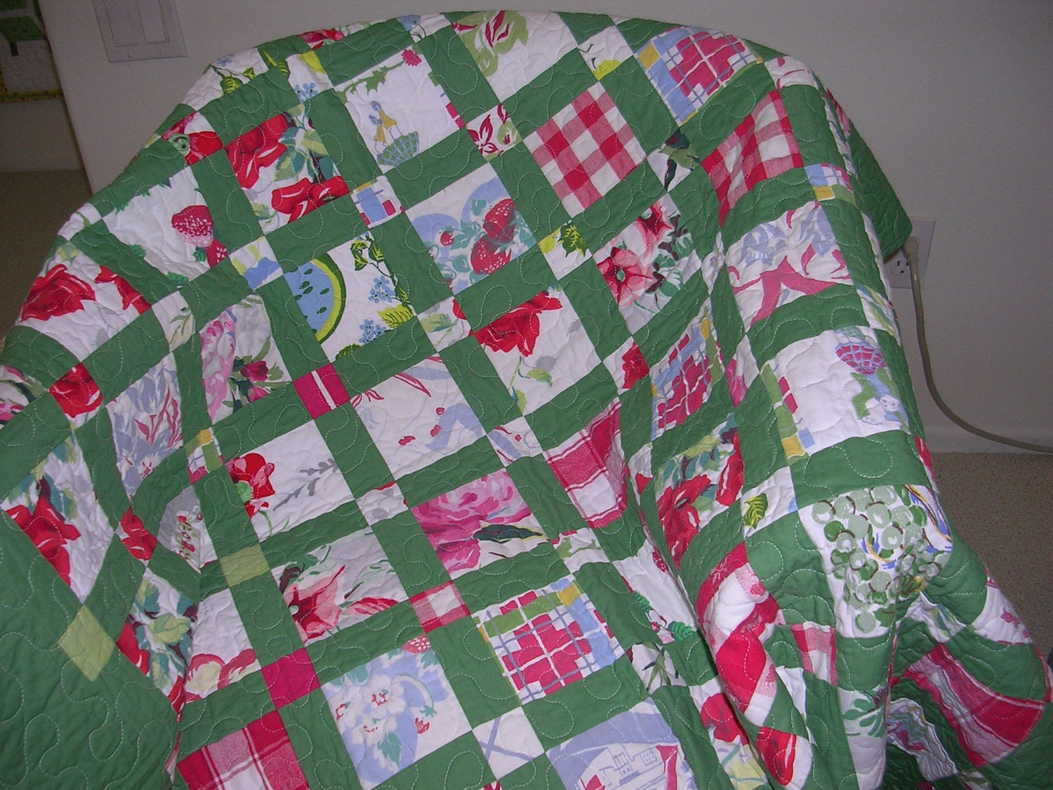 Vintage Tablecloth Lap QuiltSale Free Shipping