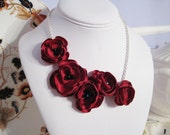 fabric flower asymmetrical necklace in red matte satin - Made To Order - ISOBEL