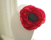 POPPY - Made To Order - large bright red fabric flower corsage brooch with sphinx lustre center