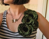 fabric flower brooch -  Made To Order - corsage blooms in woodland green shantung - MAYA