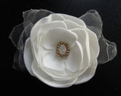 wedding bridal hair clip or comb - Made To Order pale ivory cream matte satin with glass beaded center