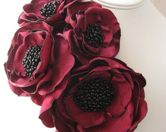 fabric flower brooch -  Made To Order - four bloom  corsage pin in winter's red with seed bead centers - MAYA
