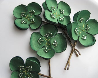 SHAMROCK or four leaf clover bobbypin - custom set of 5  Made To Order -  bridal hairpins