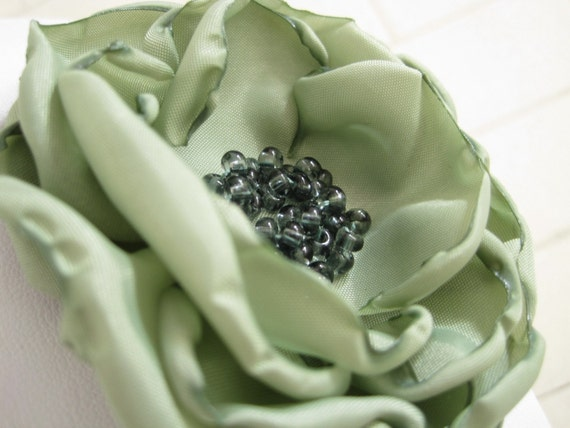JENN - made to order - sage mint fabric flower brooch