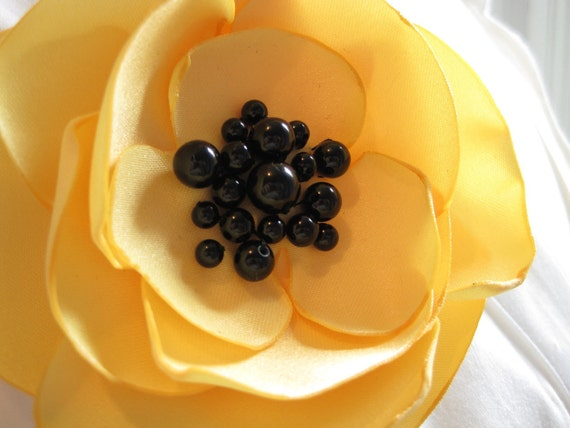fabric flower brooch - buttercup yellow single bloom pin with black onyx beads -  Made to Order - PATTI