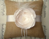 Burlap and Ivory Flower Couture Ring Bearer Pillow.