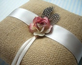 Rustic Rose Natural Burlap Ring Bearer Pillow.