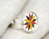 Prosperity.  Vintage Green, Black, Red, and Yellow Dutch Hex Silver Adjustable Ring.