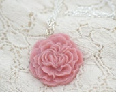 Dusty Rose Pink Ruffled Peony Necklace -- Romantic Flower Necklace.
