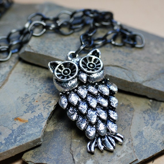 CLEARANCE - Silver Owl Pendant Necklace - Free Shipping