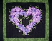 PURPLE LILACS Watercolor 100% cotton Prewashed Handmade Pre-cut Quilt Top Kit (#stk96)
