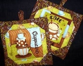 Cappucino and Cafe Latte 100% cotton Prewashed Handmade Set of 2 Pot Holders (# PH120)