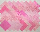 PINK Prints 40  4 inch  Quilt Block Fabric Squares (stk8B)