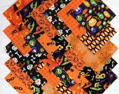 HALLOWEEN PRINTS 5 inch Quilt Block Fabric Squares (D/78B)