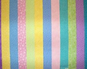 Pastel Colors 100% cotton Prewashed  Quilt Fabric Strips, Jelly Roll (stk#71)