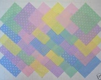 PASTEL PRINTS 100% cotton Prewashed  5 inch Quilt Fabric Squares (#stk47)