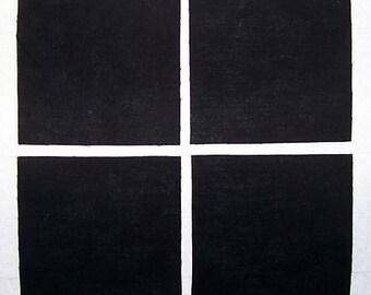SOLID BLACK 100% cotton prewashed 40 4 inch Quilt Block Fabric Squares (#stk14)
