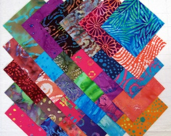 BATIK 100% cotton Prewashed Multicolored 5 inch Quilt Block Fabric Squares (#stk79B)
