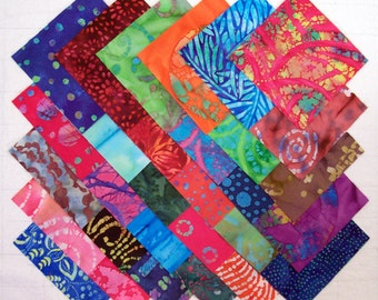 BATIK 100% cotton Prewashed Multi-Color 5inch Quilt Block Fabric Squares (#stk79A)