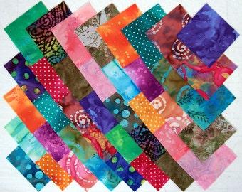 BATIK Prints 100% cotton Prewashed Multi-Color 4 inch Quilt Block Fabric Squares (#D/75A)