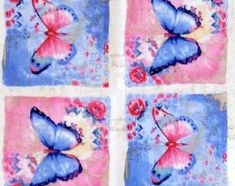 VINTAGE BUTTERFLIES 100% cotton Prewashed Quilt Panel (#E/107V)