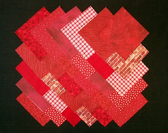 DARK RED Prints 100% cotton Prewashed 5 inch Fabric Quilting Squares (#B/28C)