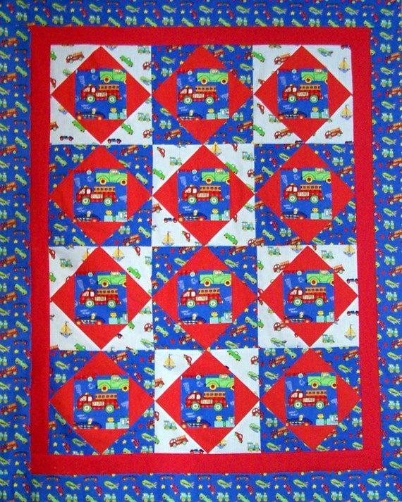 Fire Trucks & Vehicles 100% cotton Prewashed handmade 38 inch x 48 inch Quilt Top (#QT-24A)