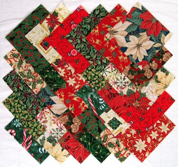 CHRISTMAS TRADITIONAL Prints 100% cotton Prewashed 5 inch Quilt Block Fabric Squares (#D/81A)