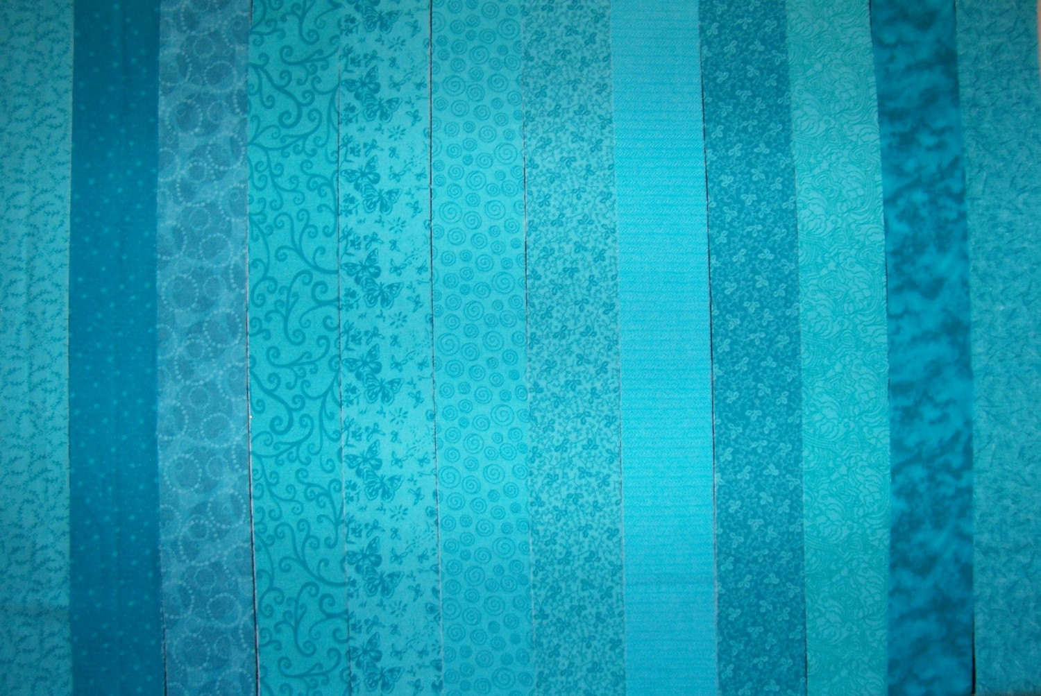 Teal Turquoise Quilt Jelly Roll Fabric Strips C 72