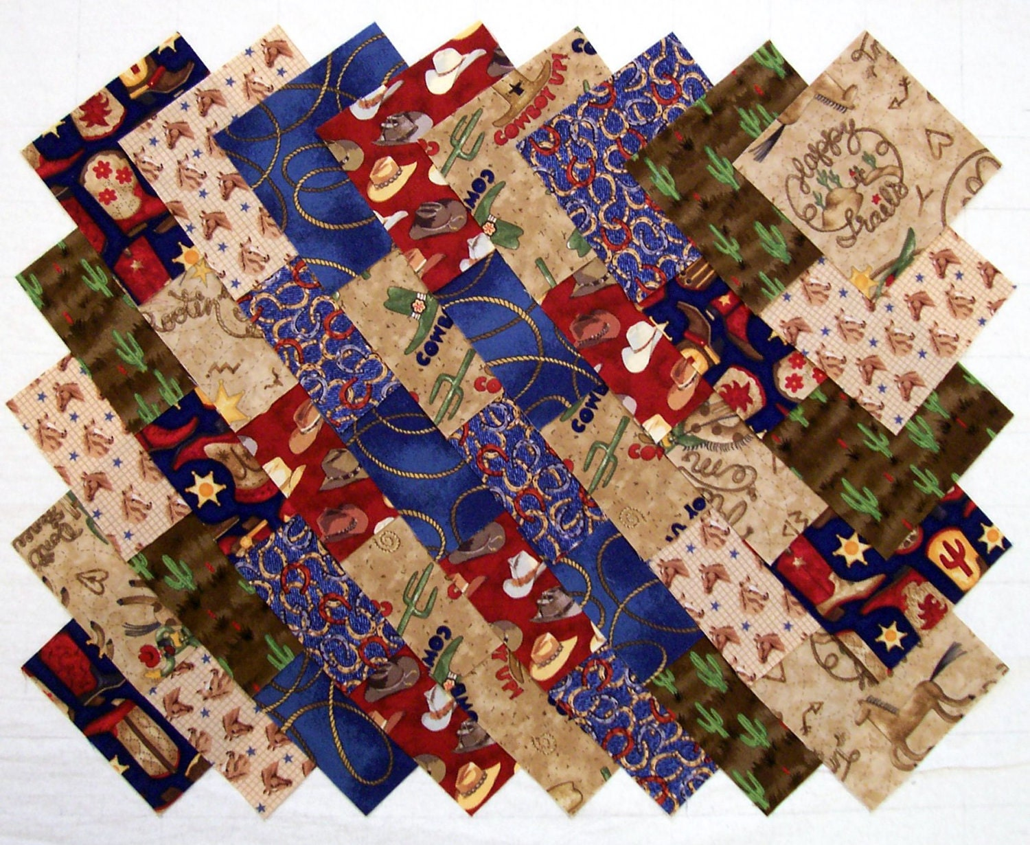 Cowboy western 4 inch quilt fabric quilting by hoosierquilter for Quilting material