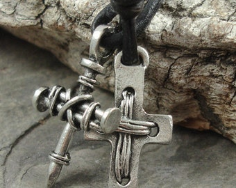 Mens Leather Necklace - Pewter Cross Pendants, Brown Cord - Surfer, Christian, Jesus