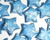 White Snowflakes on Medium Blue - Heart Tin of Origami Lucky Stars