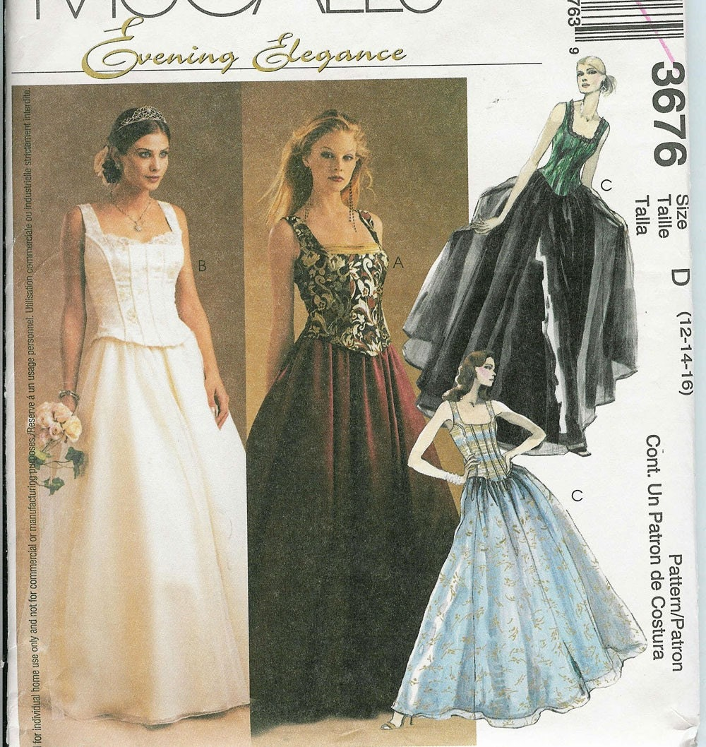 Mccalls 3676 sewing pattern wedding dress by patternsnew2u for Wedding dress patterns mccalls