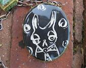 Handmade Ceramic Pendant with Hand-Pieced Chain