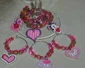 Set of 6 wine charms - Valentines theme