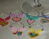 Set of 6 wine charm - Hearts