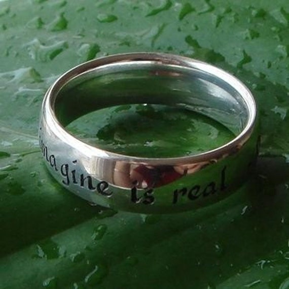 engraved silver ring -Picasso quote size 7 1\/2
