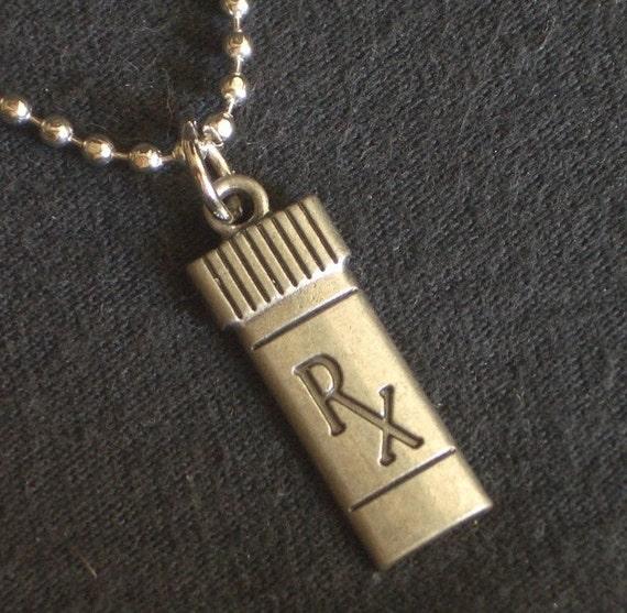 Metal pendant necklace miniature prescription pill bottle for Pill bottle jewelry